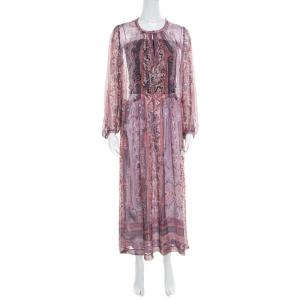 Isabel Marant Paisley Printed Sheer Silk Gauze Samuel Midi Dress M