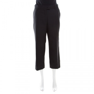 Isabel Marant Black Wool Cropped Straight Fit Formal Trousers L