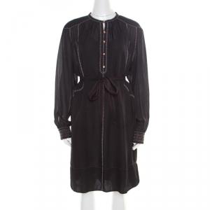 Isabel Marant Black Silk Beaded Belted Long Sleeve Dress M - used
