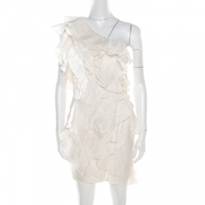 Isabel Marant Off White Floral Patterned Silk Ruffled Tiered One Shoulder Dress S - used