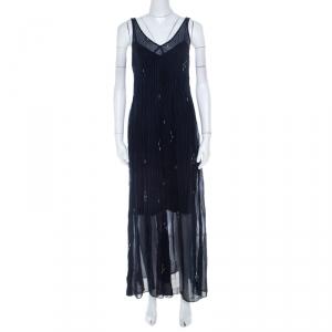 Isabel Marant Navy Blue Chiffon Sleeveless Cassidy Maxi Dress S - used