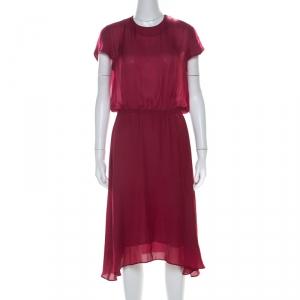 Isabel Marant Maroon Elasticized Waist Cap Sleeve Midi Dress M used