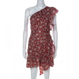 Isabel Marant Etoile Brick Red Paisley Print Linen One Shoulder Ruffle Mini Teller Dress S