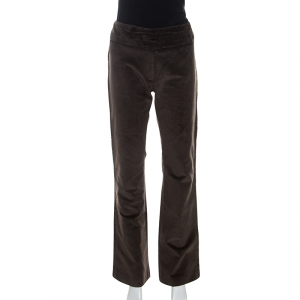 Isabel Marant Brown Corduroy Ruched Belt Detail Trousers S