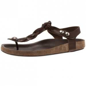 Isabel Marant Brown Braided Leather Brook Sandals Size 39