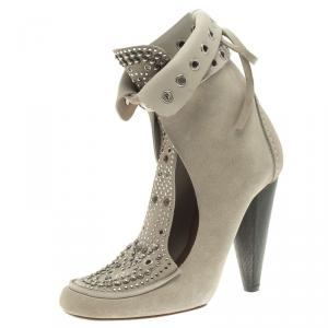 Isabel Marant Beige Suede Mossa Studded Cutout Ankle Boots Size 39