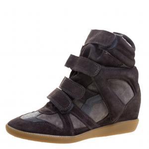 Isabel Marant Grey Suede Bekett Wedge Sneakers Size 39