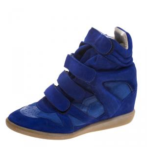 Isabel Marant Cobalt Blue Suede Bekett Wedge Sneakers Size 39