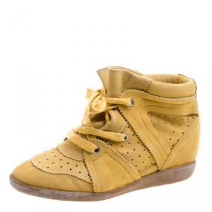 Isabel Marant Mustard Yellow Perforated Suede Etoile Wedge Sneakers Size 41