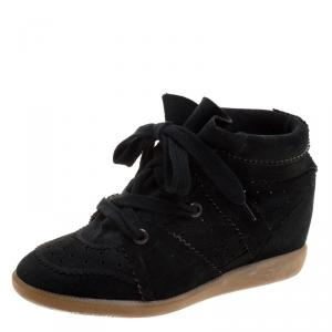 Isabel Marant Black Perforated Suede Etoile Wedge Sneakers Size 40