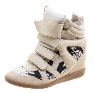Isabel Marant Beige Suede and Printed Canvas Bekett Hawaiian Wedge Sneakers Size 41