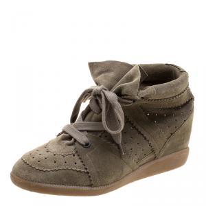 Isabel Marant Khaki Suede Etoile Bobby Wedge Sneakers Size 40