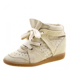 Isabel Marant Beige Suede Bobby Wedge Sneakers Size 40