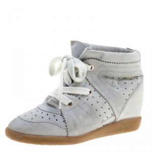 Isabel Marant Grey Suede Bobby Lace Up Wedge Sneakers Size 37