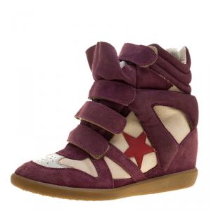 Isabel Marant Purple/Beige Suede and Canvas Bayley Star Wedge Sneakers Size 39