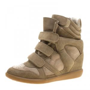 Isabel Marant Khaki Suede Bekett Wedge Sneakers Size 40