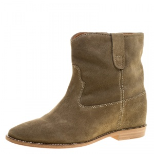 Isabel Marant Beige Suede Crisi Ankle Boots Size 39.5