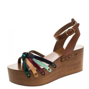 Isabel Marant Multicolor Leather Zia Wooden Wedge Ankle Strap Sandals Size 38