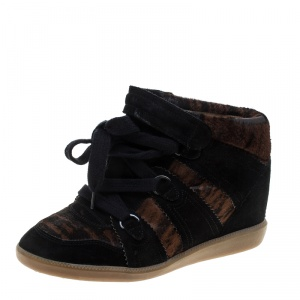 Isabel Marant Black Printed Ponyskin and Suede Blossom Lace Up Wedge Sneakers Size 39 - used