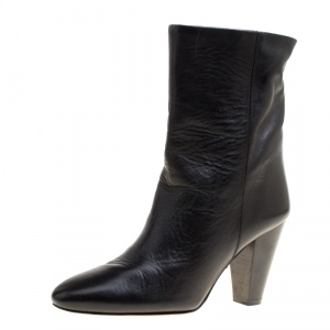 Isabel Marant Black Leather Ankle Boots Size 37
