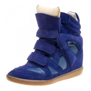 Isabel Marant Blue Suede Bekett Wedge Sneakers Size 37