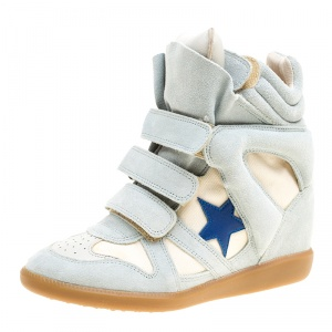 Isabel Marant Grey/Beige Suede and Canvas Bayley Star Wedge Sneakers Size 37