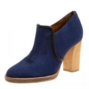 Isabel Marant Blue Canvas Block Heel Booties Size 37