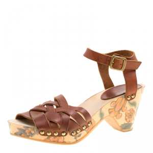 Isabel Marant Brown Leather Criss Cross Strap Floral Printed Platfrom Sandals Size 36