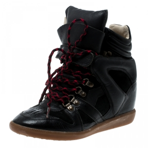 Isabel Marant Black Suede And Leather Bekett Wedge Sneakers Size 38