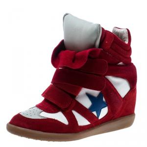 Isabel Marant Red/Beige Suede and Canvas Bayley Star Wedge Sneakers Size 37