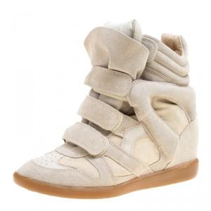Isabel Marant Beige Suede Bekett Wedge Sneakers Size 39