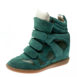 Isabel Marant Green Suede Bekett Wedge Sneakers Size 38