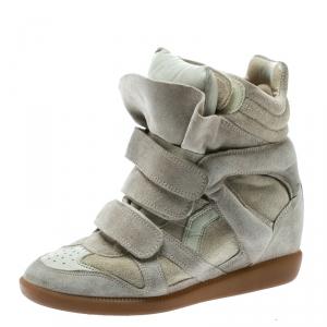 Isabel Marant Beige Suede Bekett Wedge Sneakers Size 36 - used