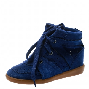 Isabel Marant Blue Suede Bobby Lace Up Wedge Sneakers Size 36