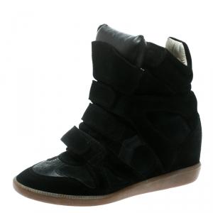 Isabel Marant Black Suede Bekett Wedge Sneakers Size 39