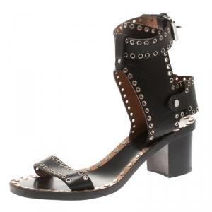 Isabel Marant Black Studded Leather Jaeryn Ankle Strap Sandals Size 40