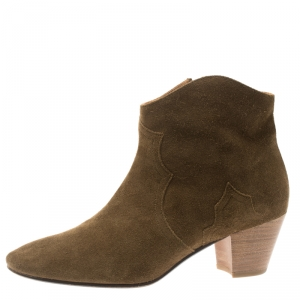 Isabel Marant Brown Suede Dicker Ankle Boots Size 41