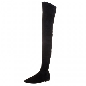 Isabel Marant Black Stretch Suede Brenna Over the Knee Thigh High Boots Size 40