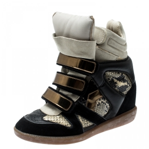 Isabel Marant Tricolor Python Embossed And Suede Leather Bekett Wedge High Top Sneakers Size 36