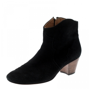 Isabel Marant Black Suede Dicker Ankle Boots Size 40