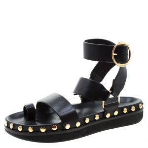 Isabel Marant Black Leather Nirvy Stud Trim Platform Sandals Size 40