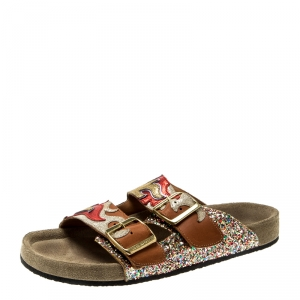 Isabel Marant Multicolor Leather And Coarse Glitter Gail Flat Slides Size 37