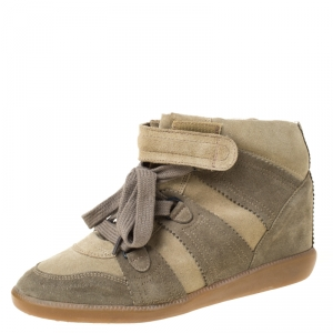 Isabel Marant Olive Green Suede Bobby Lace Up Wedge Sneakers Size 41 - used
