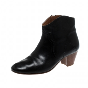 Isabel Marant Black Leather Dicker Ankle Boots Size 40