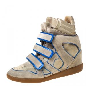 Isabel Marant Grey/Blue Suede Bekette Wedge Sneakers Size 38