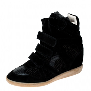 Isabel Marant Black Suede And Leather Bekett Wedge Sneakers Size 41