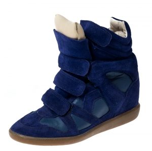 Isabel Marant Blue Suede And Leather Trim Bekett Wedge Sneakers Size 37 - used