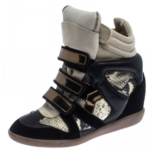 Isabel Marant Suede And Python Embossed Leather Bekett Wedge Sneaker Size 40