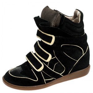 Isabel Marant Two Tone Suede and Leather Bekett Wedge Sneakers Size 39
