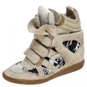 Isabel Marant Beige Printed Canvas and Suede Bekett Wedge Sneakers Size 40 - used